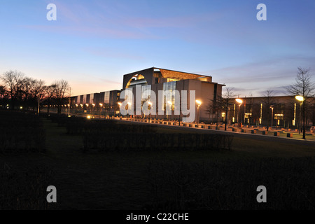 Kanzleramt, German Chancellery, at night, Berlin, Germany, Europe - Stock Photo