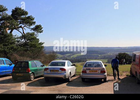 Car park at Newlands Corner on Albury Down part of the North Downs near Guildford, Surrey, England UK - Stock Photo