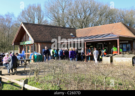 Visitor Centre and cafe at Newlands Corner on Albury Down part of the North Downs near Guildford, Surrey, England - Stock Photo