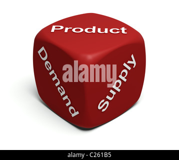 Red Dice with words Demand, Supply, Product on faces - Stock Photo