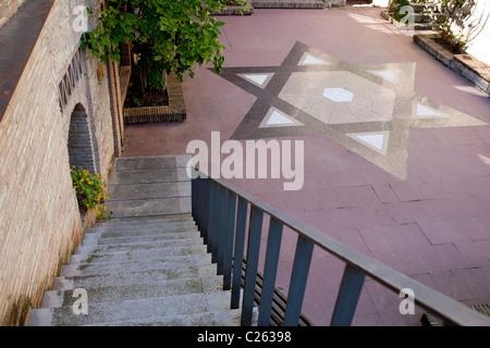 Patio of the Jewish History Museum in Girona, Catalonia, Spain - Stock Photo
