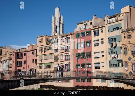 Gomez Bridge in Girona, Catalonia, Spain - Stock Photo