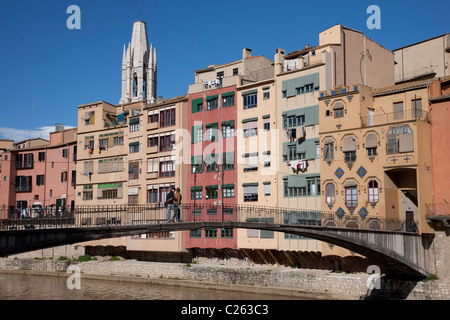 Gomez Bridge over the Onyar River in Girona, Catalonia, Spain - Stock Photo