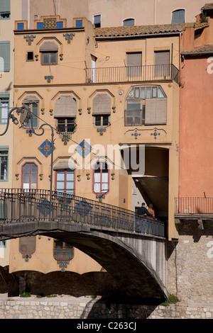 Gomez Bridge over the River Onyar in Girona, Catalonia, Spain - Stock Photo
