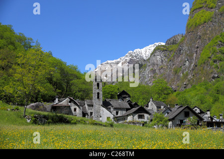 village on a mountain flower meadow  with old houses of rough stone in valley Bavona  the wildest of all Ticino, - Stock Photo