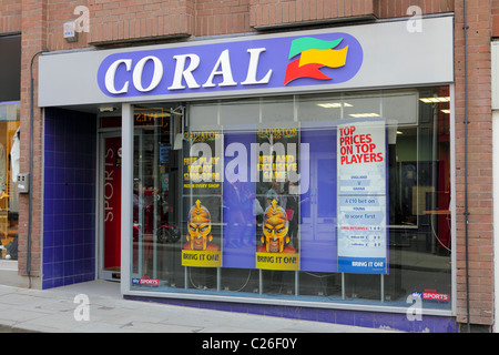 CORAL,the high street bookmakers,their branch in Shrewsbury is viewed here with company name and associated logo. - Stock Photo