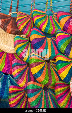 Handmade bags on sale in the Indian Market, Miraflores, Lima, Peru - Stock Photo