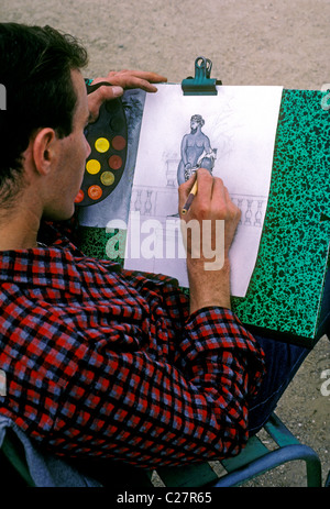 French man, French, man, French student, student, art student, artist, drawing, sketching, picture, Luxembourg Gardens, - Stock Photo