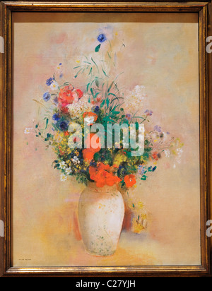 Vase of Flowers, (Pink Background), ca. 1906, by Odilon Redon, French, - Stock Photo