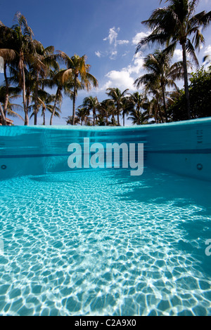 Over/under of crystalline water in swimming pool - Stock Photo