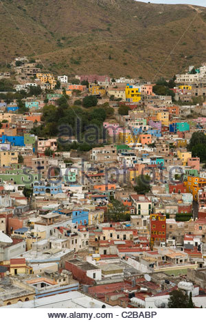 Overview of Guanajuato from the Monument to Pipila. - Stock Photo
