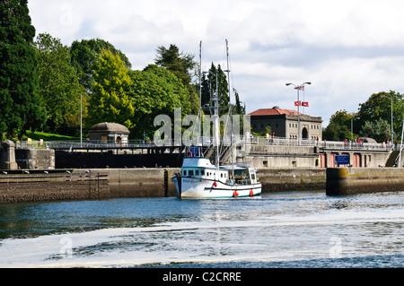 Hiram M Chittenden Locks, Lake Washington Ship Canal, Ballard, Seattle, Washington - Stock Photo