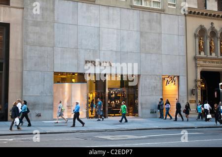 Prada luxury fashion designer store at Fifth Avenue, Manhattan, New York City, USA,  shop, fashion, brand, chic, - Stock Photo