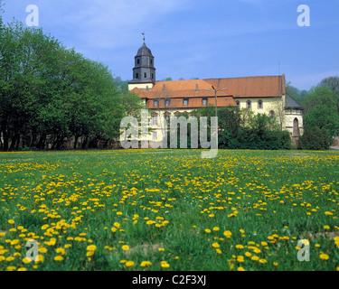 Schloss und Klosterkirche in Philippsthal, Werra, Hessisches Bergland, Hessen - Stock Photo
