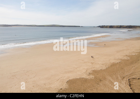 Panoramic view of Tenby south beach - Stock Photo
