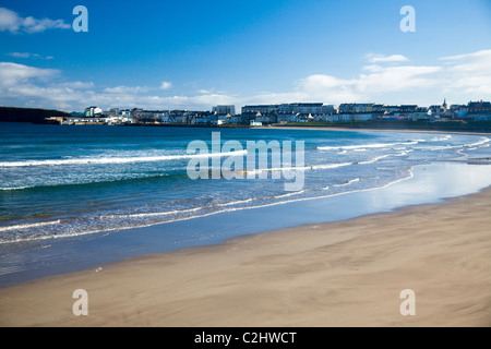 View across West Strand to Portrush, County Antrim, Northern Ireland. - Stock Photo