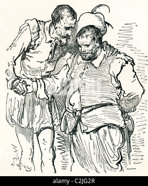 After an original drawing by Gustave Dore of Don Quixote and Sancho Panza. - Stock Photo