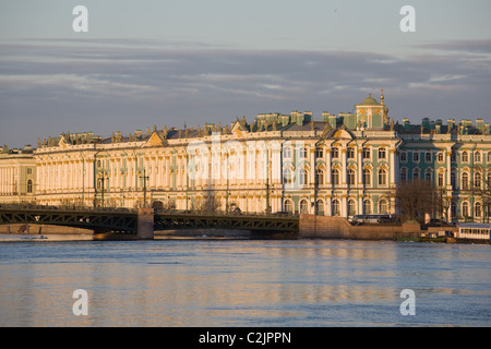 St. Petersburg, Russia.  View of the State Hermitage Museum and Neva river. - Stock Photo