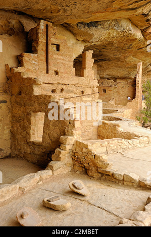Dwellings in Balcony House, cliff dwelling in Mesa Verde National Park - Stock Photo