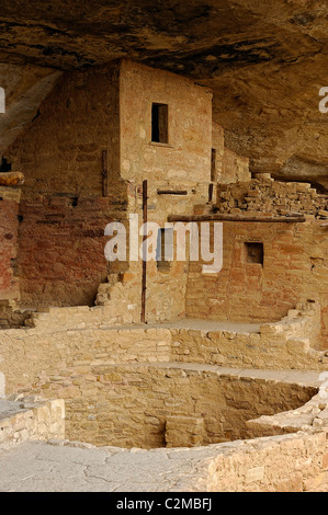 Remnants of kivas in Balcony House, cliff dwelling in Mesa Verde National Park - Stock Photo