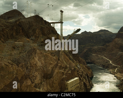 Construction of new Hoover bridge, Arizona side from Hoover Dam, Grand Canyon and Colarodo river - Stock Photo