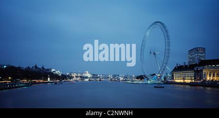 British Airways London Eye, London. River View Dusk. - Stock Photo