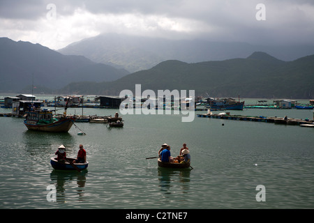 The fishing harbour on Hon Mieu island near Nha Trang - Stock Photo