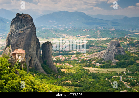 The Roussano Monastery and Dragons Cave Amongst the Spectacular Meteora Mountains, Meteora, Plain of Thessaly, Greece, - Stock Photo