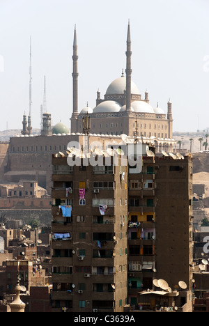 View of Muhammad Ali Pasha Mosque from the city - Cairo, Lower Egypt - Stock Photo