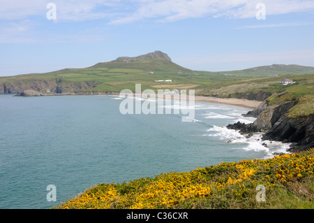 Whitesands Bay and the hills at St Davids Head in Pembrokeshire, Wales - Stock Photo
