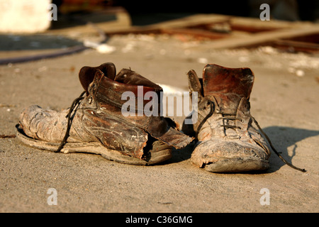 front view from pair of old boots - Stock Photo