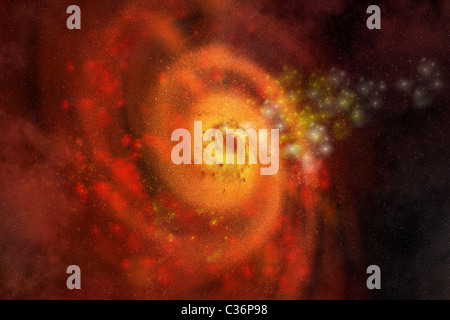A collection of stars and gasses make up a beautiful spiral galaxy out in space. - Stock Photo