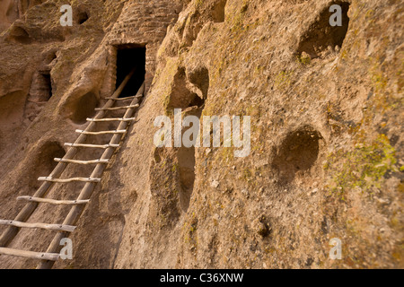 Wooden ladder leading to theTalus Houses, Native American cliff dwelling at Bandelier National Monument in New Mexico, - Stock Photo