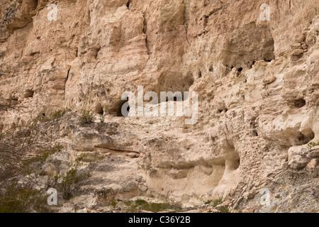 Ancient Sinagua Indian cliff dwelling, 'Castle A' at Montezuma Castle National Monument, Arizona, USA. - Stock Photo