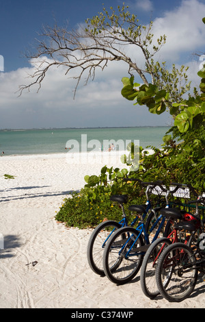 Bicycles near Lighthouse Beach (Point Ybel) - Sanibel Island, Florida - Stock Photo