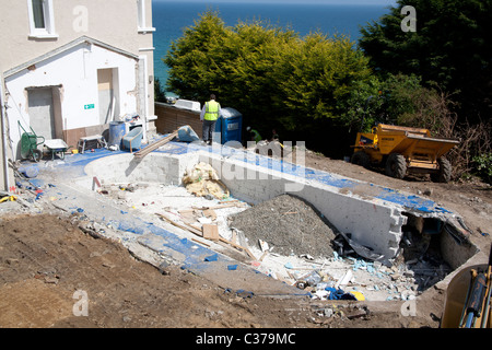 Building work in the grounds of the Porthminster Hotel, St Ives Cornwall England UK - Stock Photo