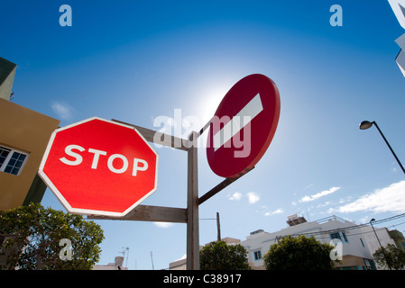 red stop & no entry road sign Fuerteventura Canary Islands - Stock Photo