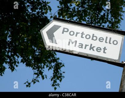 Sign for Portobello Road market, London - Stock Photo