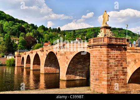 The Old Bridge over the river Neckar, Alte Brücke, Heidelberg, Neckar, Germany, Europe - Stock Photo