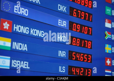 Sign depicting exchange rates for different international currencies. - Stock Photo