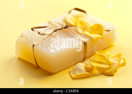 Piece of handmade flower soap. - Stock Photo