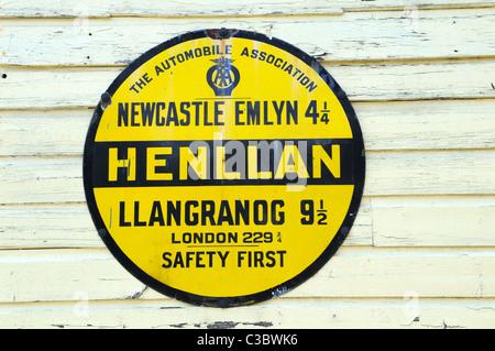Old AA road sign on Teifi Valley Narrow Gauge Railway Station Henllan Carmarthenshire Wales Cymru UK GB - Stock Photo