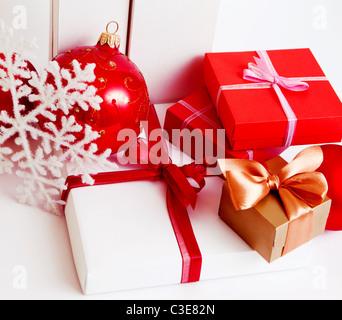 christmas present boxes on white background - Stock Photo