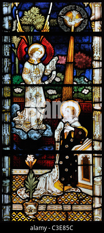 Victorian stained glass window depicting the Annunciation, King's Lynn, Norfolk, England - Stock Photo