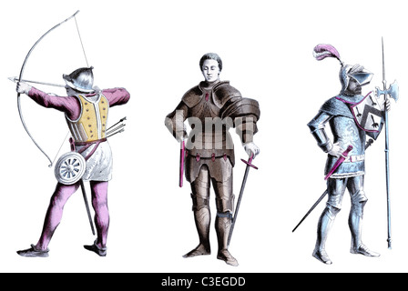 Fifteenth Century English soldiers - Stock Photo