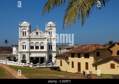 Facade Meeran Jumma Masjid and old Dutch houses Fort Galle Sri Lanka - Stock Photo