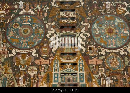 Mexico. Mexico city.University city. Central Library of National Autonomous University of Mexico. Murals of Juan - Stock Photo