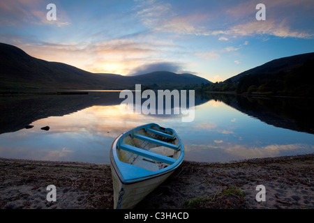 Evening fishing boat on the shore of Lough Talt, County Sligo, Ireland. - Stock Photo