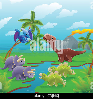 Cute dinosaurs in prehistoric scene. Three illustrations can be used separately or side by side to form panoramic - Stock Photo