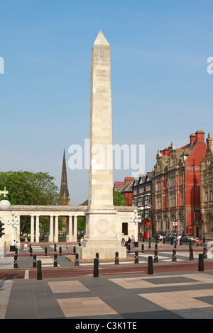Obelisk and War Memorial on Lord Street, Southport, Merseyside, Lancashire, England, UK. - Stock Photo